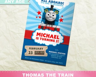 Thomas the Train Invitation, Thomas the Train Birthday Party, Train Printable Invite, Digital Party Card, INV-004
