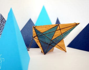NECKLACE in wood geometric blue