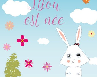 Cute Bunny girl birth announcement