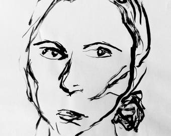 ORIGINAL minimalist ink portrait. Sumi ink and bamboo brush. Portrait ink drawing.