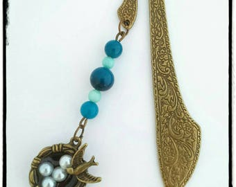 """Bookmark bronze """"swallow nest and its blue agate"""""""