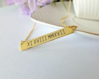 Gold Bar Necklace For Women   Custom Children Name Necklace   Name Plate Necklace   Coordinates Necklace   Personalized Gifts For Her