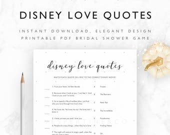 Bridal Shower Games Printable - Disney Love Quotes + Lyrics Match Up - Disney Bridal Shower Games - Pale Stars - A4, US Letter, 5x7