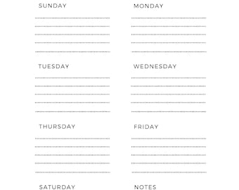 Letter size/Weekly Planner/Weekly Schedule/Weekly Scheduler/Weekly Planner Printable/Weekly Schedule/Printable Planner/Planner Inserts