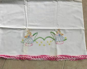 Vintage Angel Embroidered Pillowcases