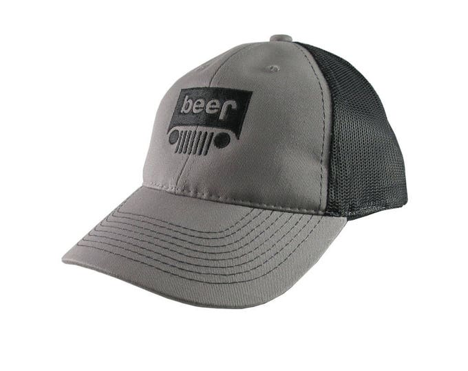 Beer Jeep Parody Black Embroidery on an Adjustable Charcoal Grey and Black Structured Truckers Style Snapback Ball Cap