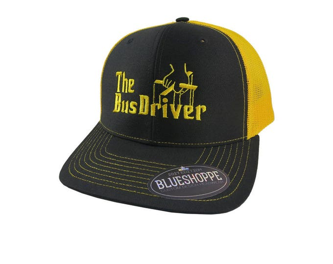 The Bus Driver Godfather Style Yellow School Bus Driver Embroidery Design on Adjustable Structured Black and Yellow Trucker Style Snap-Back