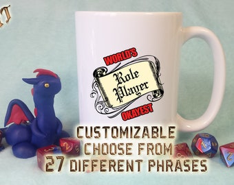 """D&D Coffee Mug / """"World's Okayest Role Player"""" Customizable 15 oz / DM, GM, Funny, DnD, RPG, Dice, Critical Role Dungeons and Dragons Gift"""