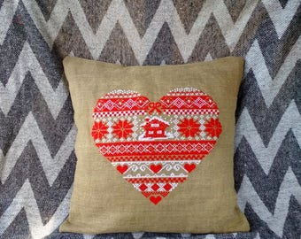 Hand embroidered pillow cover Christmas pillow Linen pillow cases Holiday Throw pillow Christmas gift for wife Heart pillow gift for mom