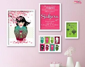 "Poster set ""Sakura"" cherry pink green kawaii Kokeshi deco child"