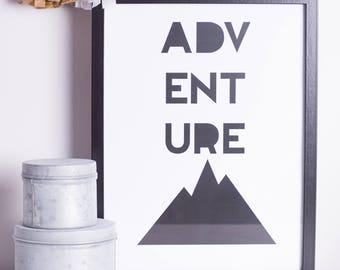 Adventure | A4|  A3 | Print | Monochrome | Typography | Nursery | Wedding Gift | Engagement Gift | Travel