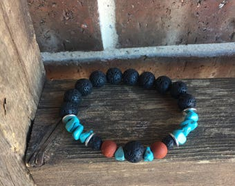 Turquoise, Poppy Jasper and Large Lava Essential Oil Diffuser Bracelet