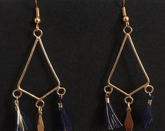 Diamond Earrings / gold & blue