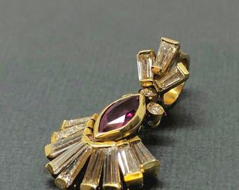 Retro Diamond Ruby Pendant Necklace 1.22TCW 18K Yellow Gold NOS Estate VS2 G-H Deco