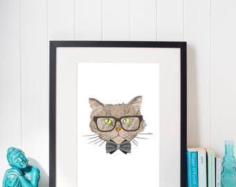 Cat printable art, cat wall art, nursery wall art, cat poster, nursery decor, cat decor, kitten print, nursery printable, childroom print
