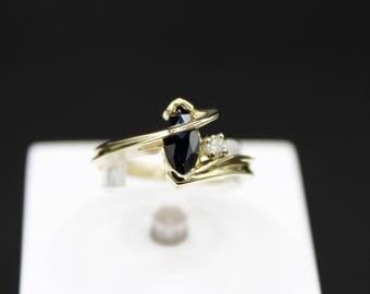 14K Yellow Gold Genuine Sapphire and Diamond Ring