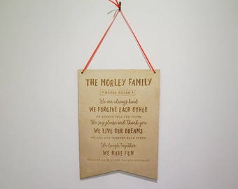Personalised Family Rules Plaque