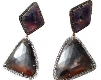 Large earrings Jasper surrounded by small diamonds, gold and silver.