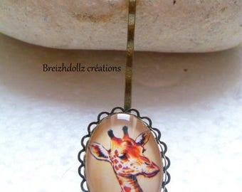 Miss Giraffe cabochon bronze Barrette
