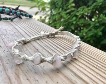 rose quartz white hemp bracelet