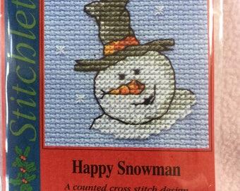 HAPPY SNOWMAN ~ Mouseloft Stitchlets ~ Mini Cross Stitch Kit