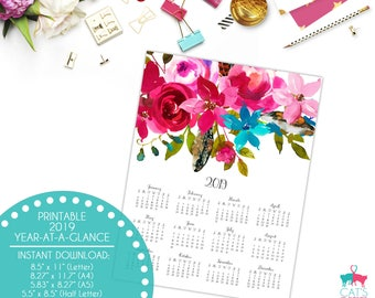Year-at-a-Glance 2019 | Boho Chic Flowers | Digital | Instant Download | Printable