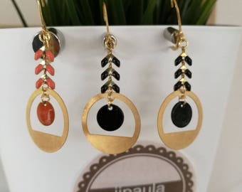 Earrings black and gold spikes