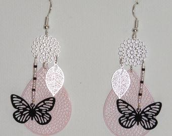 Teardrops studs, butterflies, leaves, flowers, beads miyuki, prints, pastel pink earrings, black, silver, spring Earrings