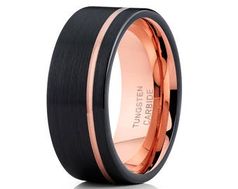 Black Tungsten Wedding Band Men & Women Rose Gold Tungsten Ring Engagement Band Tungsten Carbide Ring Comfort Fit