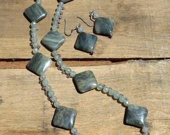 "Jasper Gemstone Necklace (21"") And Earing Set"