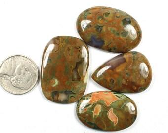 4 Pcs of 124Cts, 35x25mm Natural Rain Forest Jasper Cabochons Handmade Rain forest jasper Jewelry Making Gemstone, Rain forest rock #SKU575