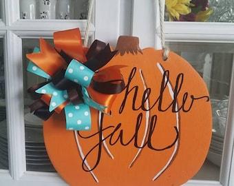 Handmade Fall Pumpkin Door Hanger