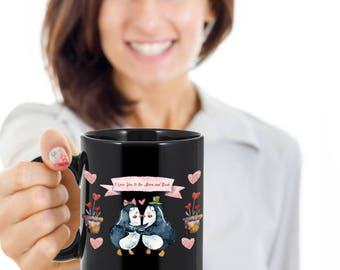 """Valentine's Day Gift, """" I love You to the Moon and Back"""" Penguin Lovers gift for Valentine's Day, Gift for Wife, Husband, Girlfriend ..."""