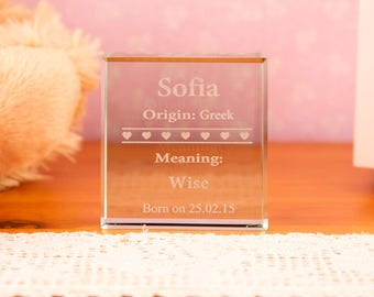 Personalised Name Meaning Glass Block - Personalised Gifts, Gifts for Children, Gifts for Him and Her, Christening, Communion, Baptism Gifts