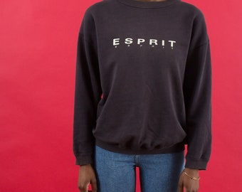 Espirit Sport, Sportswear, Sweatshirt, 90s Tshirts, 90s Sportswear, Vintage, Pullover, 90s, Distressed, Graphic Sweatshirt, Navy Blue, Logo