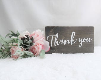 Thank You Wedding Sign. Wedding Photo Prop. Rustic Wooden Wedding Sign. Thank You Card Prop. Wedding Gift Table Sign. Wood Wedding Signs.