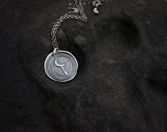 READY-TO-SHIP: Hekate's Medallion Sterling Silver Wax Seal Pendant