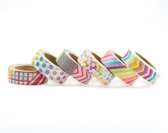 Washi tape set of 6. Masking tape, set of washi tape