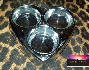 Ceramic Bronze or Silver Trio Tealight Candle Holder Heart Shaped - Tealight - With three free Anointed Candles