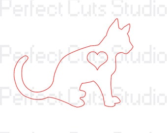 Kitty Love SVG and Studio 3 Cut File for Cricut Silhouette Files Cat SVGs Heart I Love My Cutouts - Downloads - Stencils
