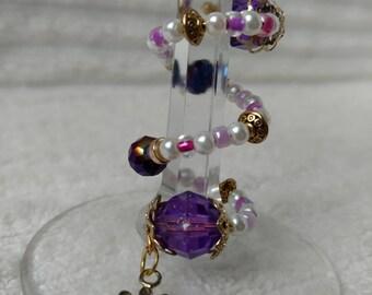 Purple & Gold Daisy Stem-Wrap Wine Charm