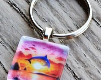 SUNSET DOLPHIN key chain