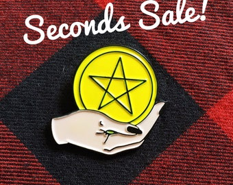 SECONDS SALE - Ace of Pentacles Tarot Enamel Pin