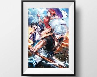Gintama Sakata Gintoki Kagura Shimura Shinpachiand Sadaharu Poster Print Anime Gift Wall Art Home Decor Fanart Manga