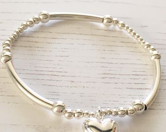 Sterling Silver Bead Bracelet with Heart Charm
