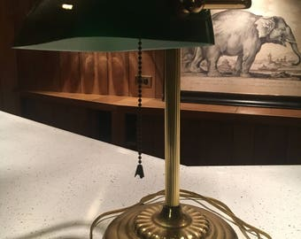 Vintage Brass Emerald Green Glass Shade Banker's Desk Lamp