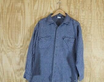 Vintage Soft Cotton Flannel Gray / Blue / White Checked Button Down Shirt XL