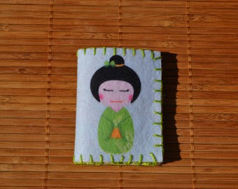 """Needle green and light blue """"Japanese Doll"""""""