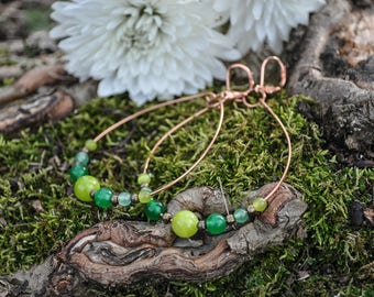 Jade and Copper Hoops