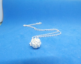 Silver filigree ball necklace